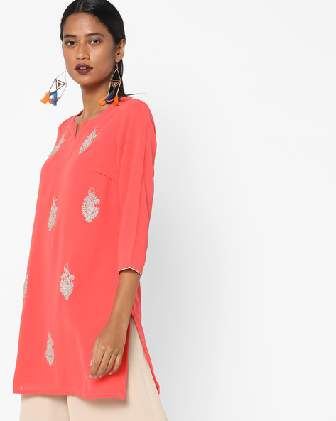 Georgette Tunic With Embroidery By AJIO ( Coral )