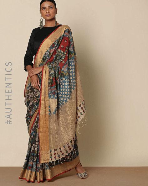Hand-Painted Kalamkari Venkatgiri Cotton Saree By Indie Picks ( Multi )