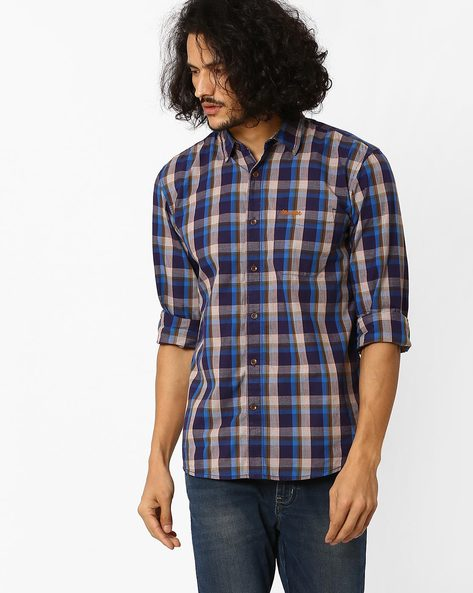 Yarn-Dyed Regular Fit Checked Shirt By WRANGLER ( Blue )