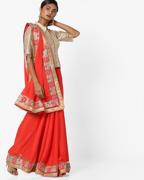 Chiffon Saree With Embroidered Net Border By Shonaya ( Orange )