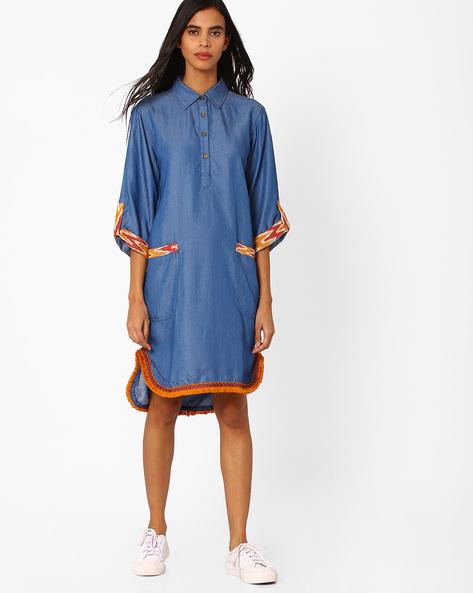High-Low Denim Shirt Dress By Vajor ( Sblue )