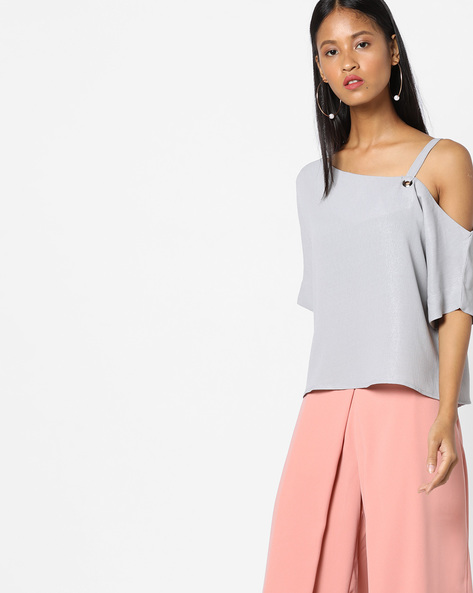 One-Shouldered Top With Detachable Strap By CODE By Lifestyle ( Grey )