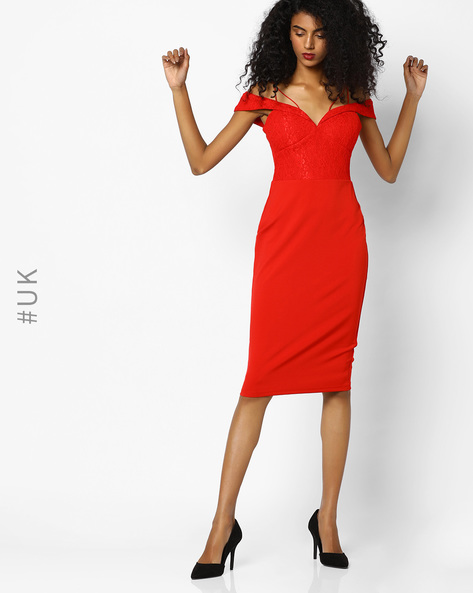 Cold Shoulder Bodycon Dress By Rare London ( Red )
