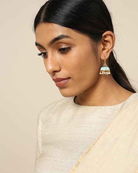 Meenakari Pearl Drops Stone Earrings By Spargz ( Multi ) - 460146254001