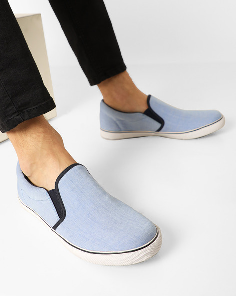 Canvas Slip-On Vulcanised Sneakers By AJIO ( Lightblue )