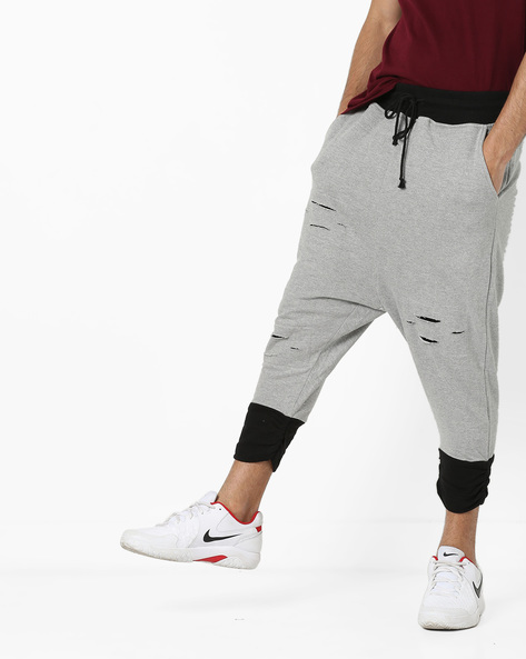 Drop-Crotch Cropped Track Pants With Distress By DEEZENO ( Grey )