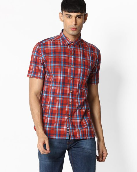 Checked Shirt With Patch Pocket By NETPLAY ( Rust )