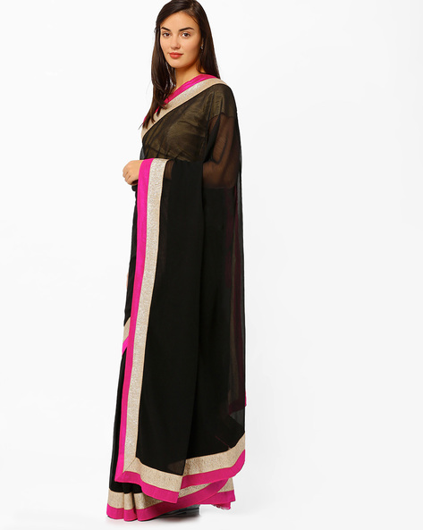 Chiffon Saree With Zari Border By Mrignain ( Black )