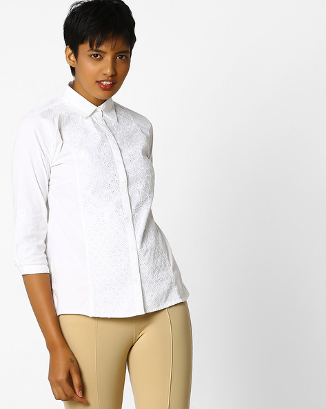 Schiffli Shirt With Button-Back By KRAUS ( White )