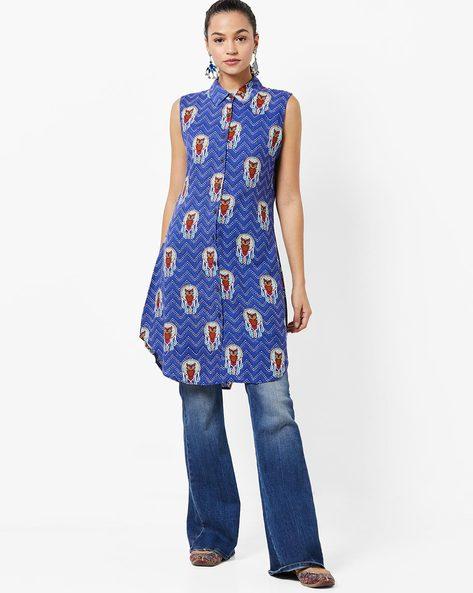 Chevron Print Sleeveless Tunic By UNTUNG ( Blue )