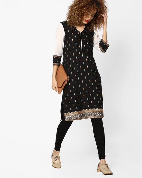 Printed Straight Kurta With Contrast Sleeves By Mmantra ( Black )