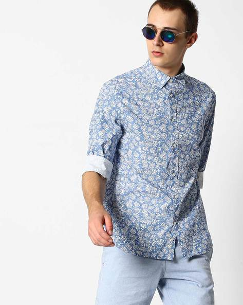 Floral Print Shirt With Cutaway Collar By Celio ( Blue )