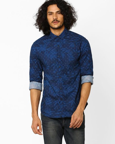 Printed Slim Fit Shirt With Patch Pocket By Locomotive ( Navyblue )
