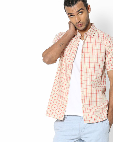Checked Shirt With Spread Collar By UNITED COLORS OF BENETTON ( Clear )