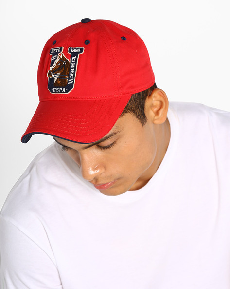 Baseball Cap With Applique Branding By US POLO ( Red )