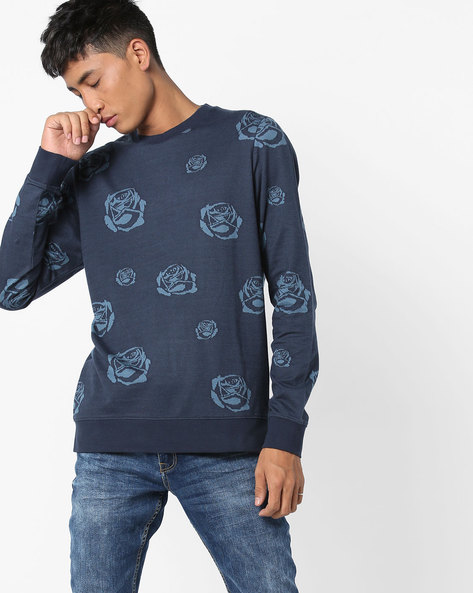 Printed Crew-Neck Sweatshirt By Jack & Jones ( Blue )