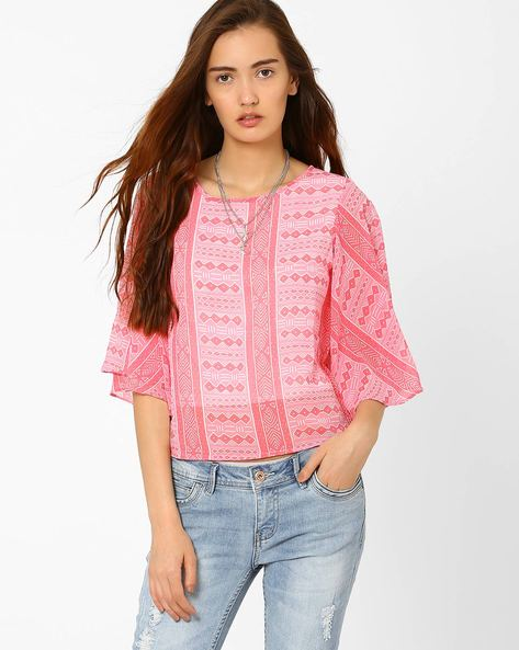 Printed Top With Ruffled Sleeves By And ( Multi )