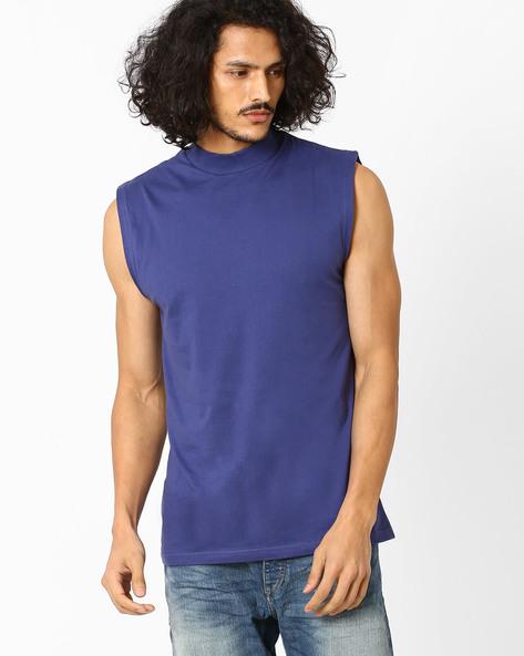 Slim Fit High-Neck T-shirt By Blue Saint ( Navy )