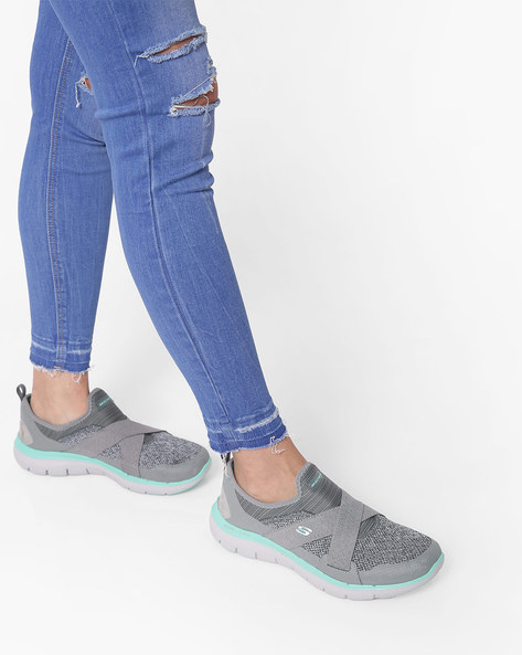 Slip-On Casual Shoes With Criss-Cross Overlay By Skechers ( Grey )