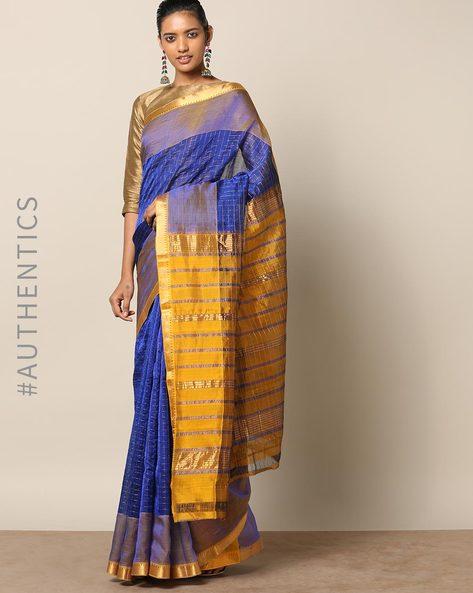 Handloom Mangalagiri Checked Cotton Silk Saree By Indie Picks ( Blue )