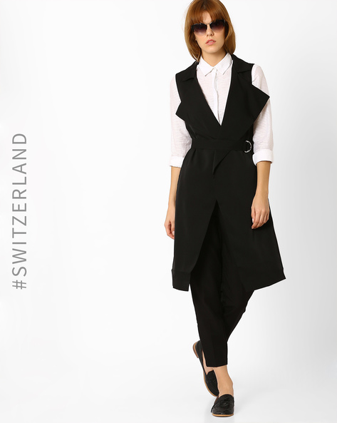 Sleeveless Trench Coat With Belt By TALLY WEiJL ( Black )