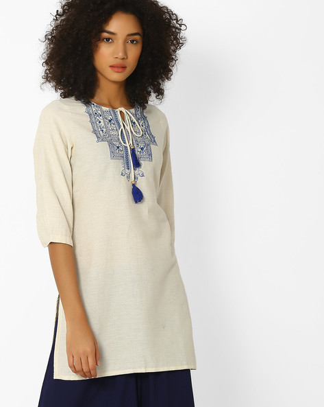 Kurta With Tasselled Tie-Up By AVAASA MIX N' MATCH ( Blue )