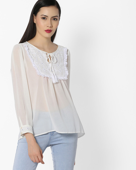 Top With Keyhole Neckline By Global Desi ( Offwhite )