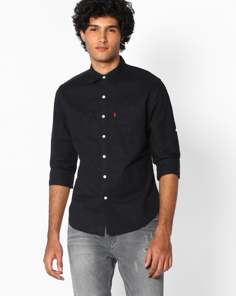 Linen Shirt With Patch Pocket By LEVIS ( Black )