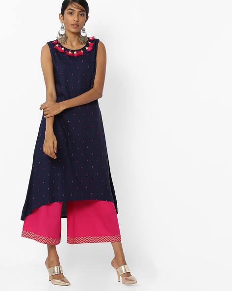 Embroidered Flared Kurta With Tassels By FUSION ( Navy )