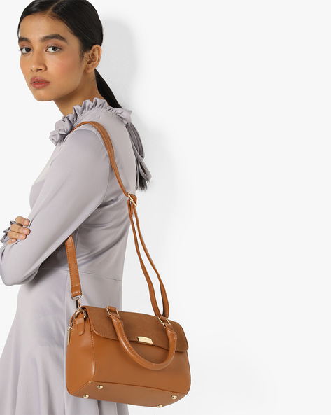 Satchel Bag With Detachable Sling By Lino Perros ( Brown )