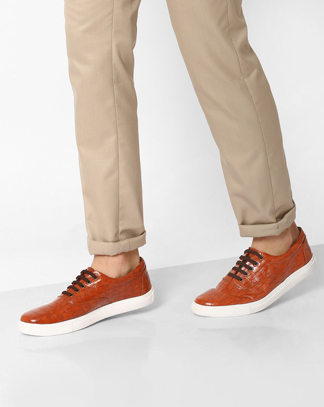 Faux Leather Textured Sneakers By AJIO ( Tan )