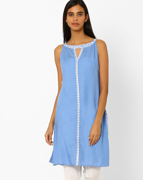 Cotton Kurta With Contrast Placket By AJIO ( Blue )