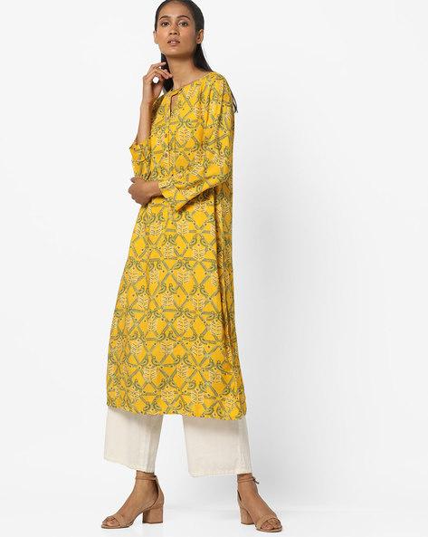 Printed Kurta With Roll-Up Tab By Global Desi ( Mustard )