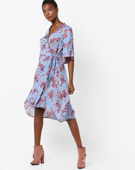 Printed Wrap-Around Dress With High-Low Hem By Rena Love ( Blue )