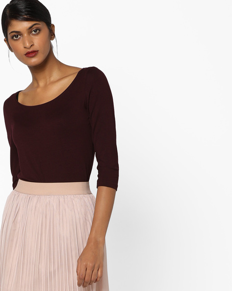Knitted Top With Ribbed Neckline By CODE By Lifestyle ( Wine )