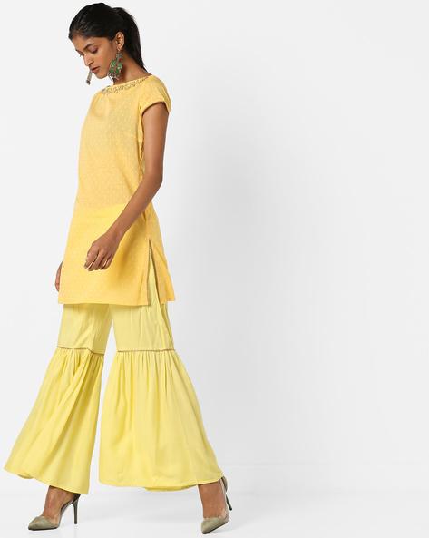 Printed Kurta & Sharara Suit Set By AJIO ( Yellow )