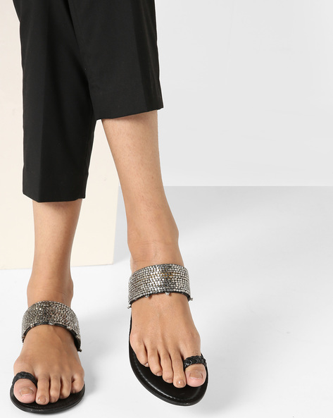 Embellished Flat Sandals By AJIO ( Silver )