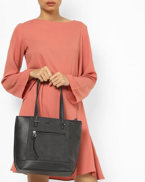 Panelled Tote Bag With Zip Pocket By Lino Perros ( Beige )