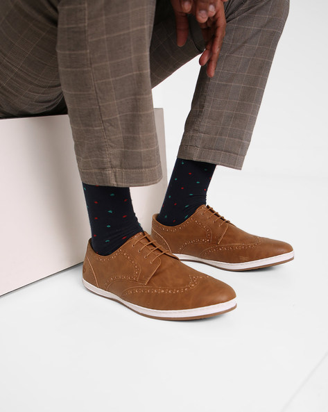 Panelled Lace-Up Shoes With Broguing By Bond Street By Red Tape ( Tan )