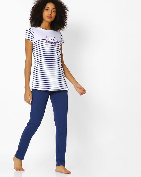 Striped Top And Pyjama Set By Sweet Dreams ( Blue )