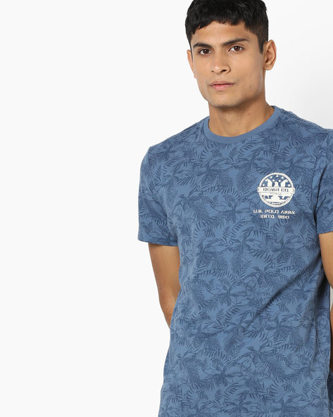 Tropical Print Crew-Neck T-shirt By US POLO ( Assorted ) - 440760205001