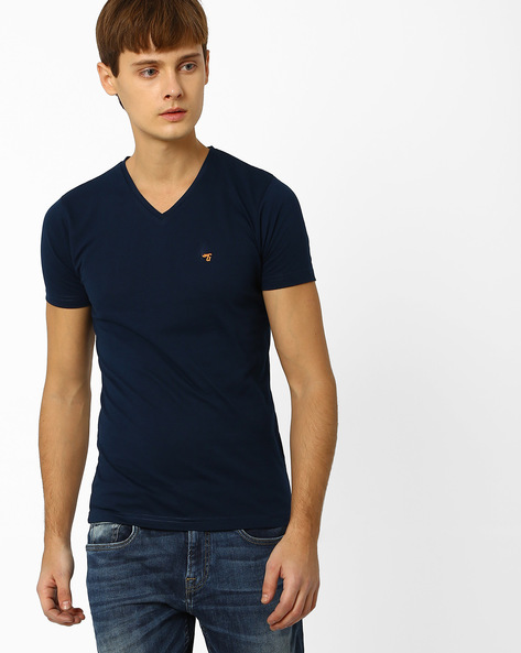 Slim Fit V-neck T-shirt By The Indian Garage Co ( Navy ) - 460048096018
