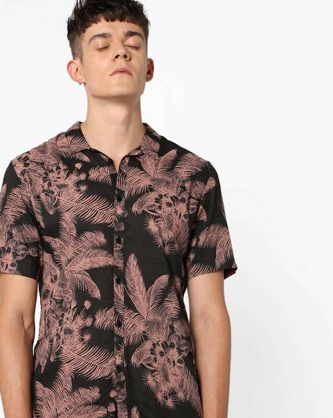Tropical Print Shirt With Short Sleeves By ADAMO LONDON ( Multi )