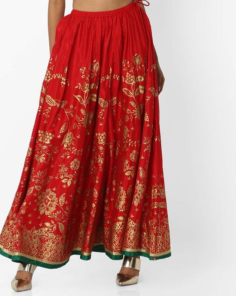 Floral Print Flared Skirt By Biba ( Red )