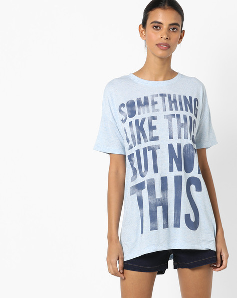 Typographic Print Longline Top With Drop Shoulders By Ginger By Lifestyle ( Blue )