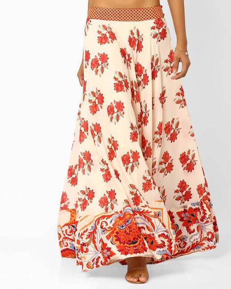 Floral Print Maxi Skirt By AJIO ( Offwhite )