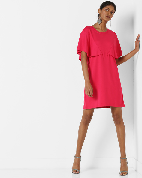Shift Dress With Flared Sleeves By AJIO ( Pink )