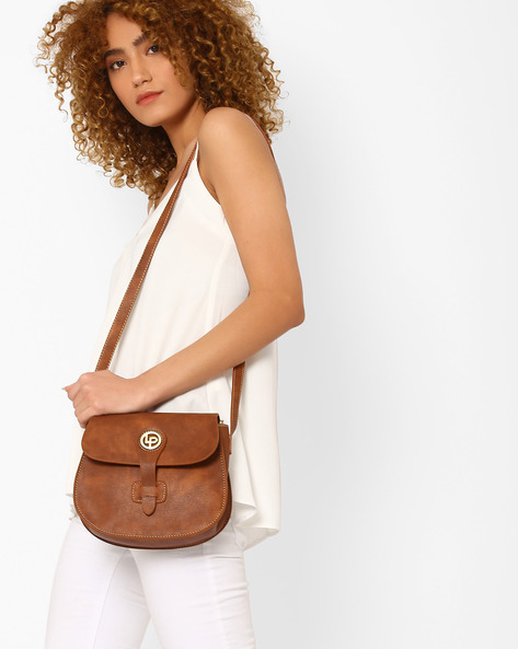 Saddle Bag With Tab Closure By Lino Perros ( Brown )