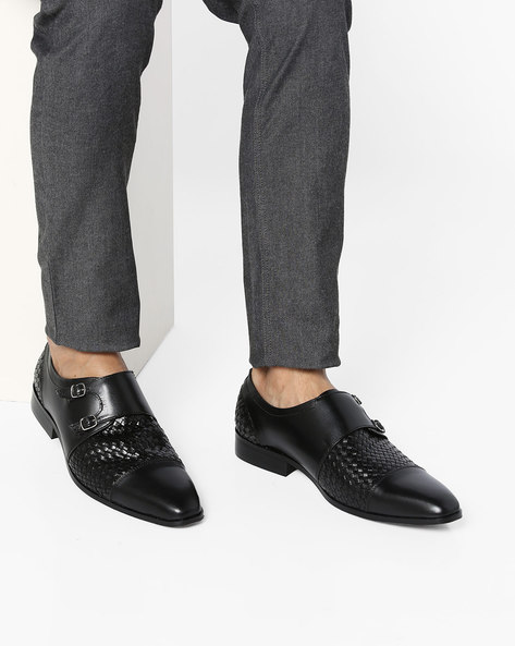 Genuine Leather Monk Shoes By Buckle Up ( Black )