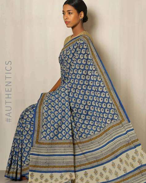 Bagru Handblock Print Cotton Saree By Indie Picks ( Blue )